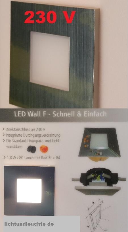 neu 230v led wandeinbauleuchte schalterdose stufenlicht edelstahl hera wall f ebay. Black Bedroom Furniture Sets. Home Design Ideas