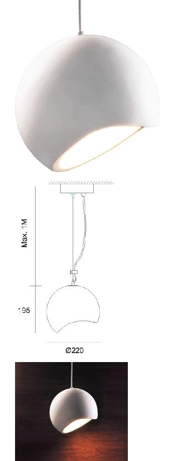 Gipsleuchte Pendellampe Designer weiss überstreichbar E27