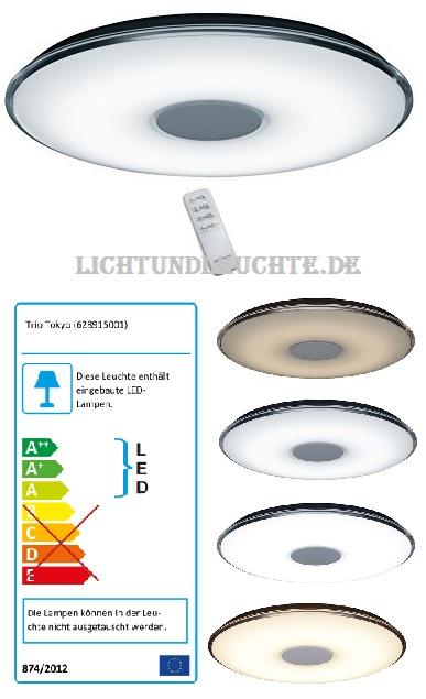 60cm LED-Deckenleuchte Tokyo mit Dimmer und Weisston-Einstellung